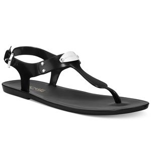MICHAEL KORS Silver Plate Black Jelly Sandals 8